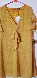 Yellow Polka Dot Dress w/ Front Tie